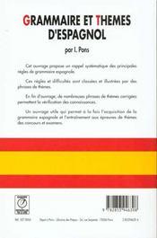 Grammaire & thèmes d'espagnol - 4ème de couverture - Format classique