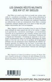Les Grands Recits Militants Des Xix Et Xx Siecles ; Religions De L'Humanite Et Sciences De L'Histoire - 4ème de couverture - Format classique