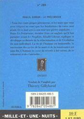 Le Precurseur - 4ème de couverture - Format classique