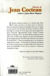 Mémoire de Jean Cocteau ; lettres à Jean-Marie Magnan - 4ème de couverture - Format classique
