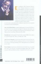 Bergson, la vie et l'action - 4ème de couverture - Format classique