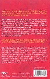 Dictionnaire de l'eloge, de la flatterie... et du compliment - 4ème de couverture - Format classique