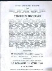 Catalogue Ventes Aux Encheres - Tableaux Modernes - Hotel Rameau A Versailles Le Dimanche 13 Avril 1980. - Couverture - Format classique