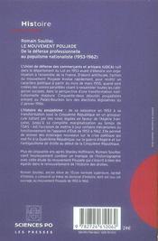 Le mouvement Poujade ; de la défense professionnelle au populisme nationaliste (1953-1962) - 4ème de couverture - Format classique