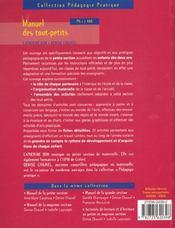 Manuel Des Tout-Petits Ps 2ans - 4ème de couverture - Format classique