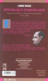 Republique Dominicaine. Systeme Politique Et Mouvement Populaire (1961-1990) - 4ème de couverture - Format classique