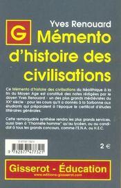 Memento D'Histoire Des Civilisations - 4ème de couverture - Format classique