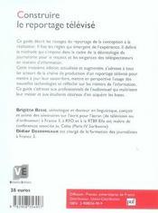 Construire le reportage télévisé (3e édition) - 4ème de couverture - Format classique
