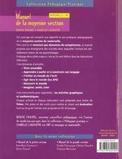 Manuel De La Moyenne Section - 4ème de couverture - Format classique