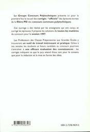 Epreuves Corriges Concours Communs Polytechniques Filiere Psi/1 - 4ème de couverture - Format classique
