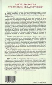 Rachid Boudjedra, Une Poetique De La Subversion ; Autobiographie Et Histoire - 4ème de couverture - Format classique
