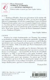 Tombeau D'Orphee - 4ème de couverture - Format classique