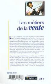 Les metiers de la vente ; 2e edition - 4ème de couverture - Format classique