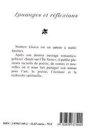 Louanges Et Reflexions - 4ème de couverture - Format classique