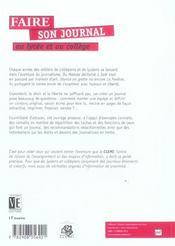 Faire Son Journal Au Lycee Et Au College (3ed) - 4ème de couverture - Format classique