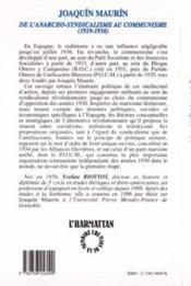 Joaquin Maurin De L'Anarcho-Syndicalisme Au Communisme 1919/1936 - 4ème de couverture - Format classique