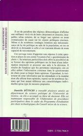 Le Raisonnement Dans Les Processus Democratiques ; Le Questionnaire De Choix - 4ème de couverture - Format classique