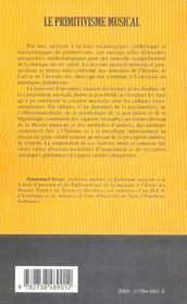 Le Primitivisme Musical ; Facteurs Et Genese D'Un Paradigme Esthetique - 4ème de couverture - Format classique