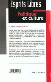 Esprits Libres ; Politique Et Culture ; Violences ; La Figure De L'Esprit Libre - 4ème de couverture - Format classique