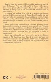 Pour Une Philosophie De L'Acte - 4ème de couverture - Format classique