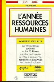 L'Annee Ressources Humaines 1994 - Couverture - Format classique