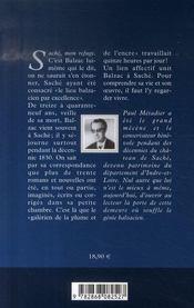 Balzac ; saché son refuge - 4ème de couverture - Format classique