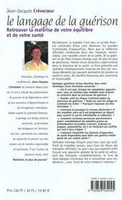 Langage de la guerison (le) n.3 - 4ème de couverture - Format classique