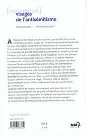 Nouveaux Visages De L'Antisémitisme. Haine-Passion Ou Haine Historique ? - 4ème de couverture - Format classique