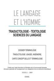 Dossier terminologie, traductologie : usages, ingénierie, carte conceptuelle et terminologie - Couverture - Format classique