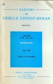 Cahiers Du Cercle Ernest Renan N°91 du 01/07/1975 - Couverture - Format classique