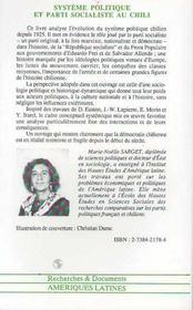 Systeme Politique Et Parti Socialiste Au Chili - 4ème de couverture - Format classique