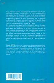 Integrations Des Langues Indo-Europeennes Dans La Linguistique Generale ; Le Grec Homerique Et Les Structures - 4ème de couverture - Format classique