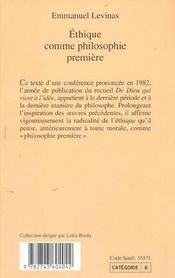 Ethique Comme Philosophie Premiere - Rp N 254 - 4ème de couverture - Format classique