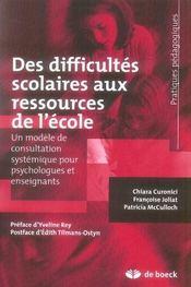 Des difficultés scolaires aux ressources de l'école ; un modèle de consultation systémique pour psychologues et enseigna - Intérieur - Format classique