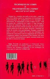 Techniques Du Corps Et Traitements De L'Esprit Aux Xviii Et Xix Siecles - 4ème de couverture - Format classique