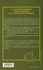 La Question Urbaine Dans L'Histoire De La Pensee Economique - 4ème de couverture - Format classique