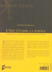 L'Art D'Ecrire La Science ; Anthologie De Textes Savants Du Xviiie Siecle Francais - 4ème de couverture - Format classique
