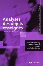 Analyses des objets enseignés ; le cas du français - Intérieur - Format classique