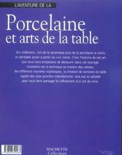 L'Aventure De La Porcelaine Et Arts De La Table - 4ème de couverture - Format classique