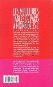 Les Meilleures Tables De Paris A Moins De 35 - 4ème de couverture - Format classique