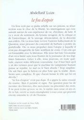 Fou D'Espoir (Le) - 4ème de couverture - Format classique