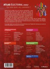 Atlas électoral 2007 ; qui vote quoi, où, comment ? - 4ème de couverture - Format classique