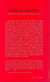 Bangui chante ; anthologie du chant moderne en afrique centrale - 4ème de couverture - Format classique