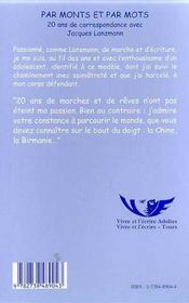 Par Monts Et Par Mots ; 20 Ans De Correspondance Avec Jacques Lanzmann - 4ème de couverture - Format classique