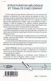 Structuration Melodique Et Tonalite Chez L'Enfant - 4ème de couverture - Format classique