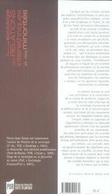 Pour une sociologie des relations interethniques et des minorités - 4ème de couverture - Format classique