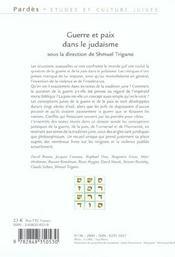 Guerre et paix dans le judaisme - 4ème de couverture - Format classique