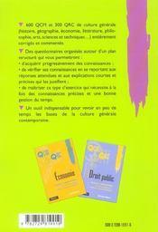 Culture Generale Concours Administratifs 1ers Cycles Universitaires Iep - 4ème de couverture - Format classique