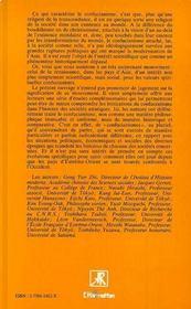 Confucianisme Et Societes Asiatiques. - 4ème de couverture - Format classique