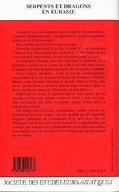 Eurasie - Serpents Et Dragons En Eurasie - 4ème de couverture - Format classique